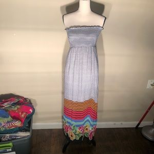 4 for $25 Pink rose Stripped Maxi dress